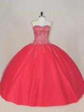 Charming Sleeveless Lace Up Floor Length Beading Sweet 16 Dress