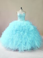 Pretty Aqua Blue Sleeveless Tulle Lace Up Sweet 16 Dress for Sweet 16 and Quinceanera