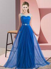 Fashionable Sleeveless Lace Up Floor Length Beading Quinceanera Dama Dress