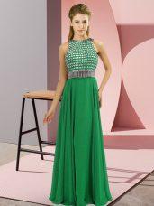 Free and Easy Floor Length Green Evening Dress Chiffon Sleeveless Beading