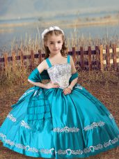 Custom Fit Teal Lace Up Little Girl Pageant Gowns Beading and Embroidery Sleeveless Floor Length