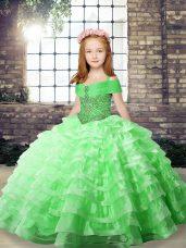 Sleeveless Beading and Ruffled Layers Lace Up Kids Pageant Dress