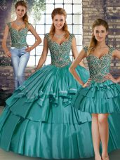 Sleeveless Beading and Ruffled Layers Lace Up 15th Birthday Dress