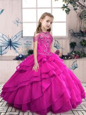 Amazing Fuchsia Sleeveless Floor Length Beading and Ruffles Lace Up Child Pageant Dress