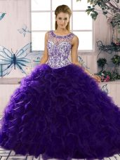 Purple Lace Up Scoop Beading and Ruffles Ball Gown Prom Dress Organza Sleeveless