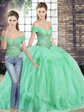 Designer Beading and Ruffles Sweet 16 Dresses Apple Green Lace Up Sleeveless Floor Length