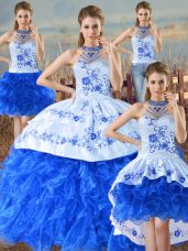 Spectacular Blue And White Quinceanera Dresses Sweet 16 and Quinceanera with Embroidery and Ruffles Halter Top Sleeveless Lace Up