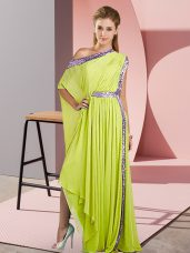 Attractive One Shoulder Sleeveless Prom Gown Asymmetrical Sequins Yellow Green Chiffon