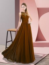 Brown Empire Scoop Sleeveless Chiffon Floor Length Zipper Lace Evening Dress