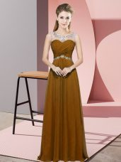 Floor Length Brown Evening Dress Scoop Sleeveless Backless