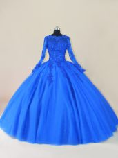 Tulle Scalloped Long Sleeves Zipper Lace and Appliques 15th Birthday Dress in Royal Blue