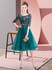 Dazzling Teal Damas Dress Wedding Party with Embroidery Scoop Half Sleeves Lace Up