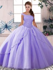 Fashion Lace Up Vestidos de Quinceanera Lavender for Military Ball and Sweet 16 and Quinceanera with Beading Brush Train