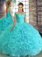 Fabulous Aqua Blue Sleeveless Floor Length Beading Lace Up Vestidos de Quinceanera