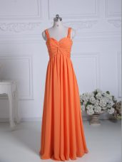 Luxurious Orange Wedding Guest Dresses Wedding Party with Ruching Straps Sleeveless Zipper