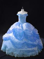 Blue Ball Gowns Organza Off The Shoulder Sleeveless Beading and Appliques Floor Length Lace Up Quinceanera Dresses