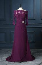Scalloped Sleeveless Brush Train Zipper Prom Dress Purple Chiffon