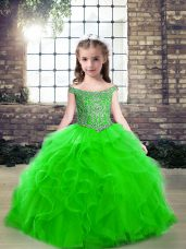Inexpensive Sleeveless Beading Lace Up Little Girls Pageant Dress Wholesale