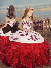 Red Straps Neckline Embroidery and Ruffles Little Girl Pageant Gowns Sleeveless Lace Up