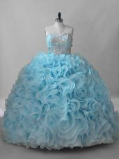 Sweetheart Sleeveless Quinceanera Gown Brush Train Beading Baby Blue Fabric With Rolling Flowers