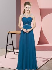 Teal Sleeveless Floor Length Beading Backless Evening Dress