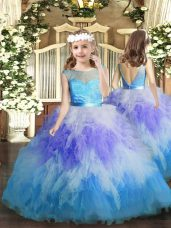 Sleeveless Floor Length Ruffles Backless Party Dress for Toddlers with Multi-color
