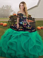 Off The Shoulder Sleeveless Tulle Sweet 16 Dress Embroidery and Ruffles Lace Up