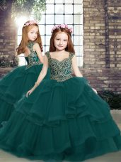 Straps Sleeveless Pageant Dress Toddler Floor Length Beading and Ruffles Peacock Green Tulle