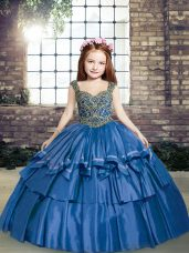 Straps Sleeveless Taffeta Little Girls Pageant Gowns Beading Lace Up