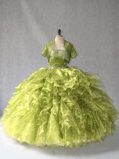 Gorgeous Olive Green 15th Birthday Dress Sweet 16 and Quinceanera with Beading and Ruffles Scoop Sleeveless Lace Up