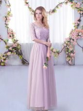 Tulle Half Sleeves Floor Length Vestidos de Damas and Lace and Belt