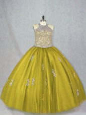 Inexpensive Olive Green Ball Gowns Halter Top Sleeveless Tulle Floor Length Lace Up Beading and Appliques Ball Gown Prom Dress
