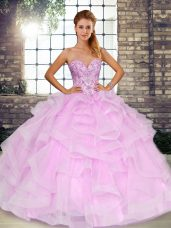Ball Gowns 15th Birthday Dress Lilac Sweetheart Tulle Sleeveless Floor Length Lace Up