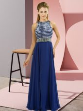 Organza Scoop Sleeveless Side Zipper Beading Prom Dresses in Blue