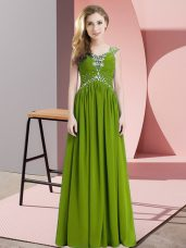 Lovely Cap Sleeves Chiffon Floor Length Lace Up Homecoming Dress in Olive Green with Beading