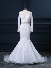 Deluxe White Mermaid Organza V-neck Long Sleeves Beading and Lace Backless Wedding Dresses Brush Train