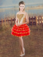 Best Selling Sleeveless Lace Up Mini Length Beading and Ruffled Layers Party Dresses