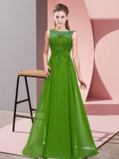 Cheap Green Damas Dress Wedding Party with Beading and Appliques Scoop Sleeveless Zipper