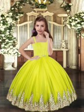 Hot Sale Sleeveless Tulle Floor Length Lace Up Little Girls Pageant Gowns in Yellow Green with Embroidery