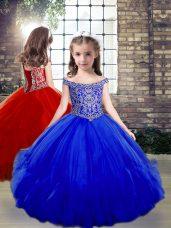 Wonderful Royal Blue Off The Shoulder Neckline Beading Girls Pageant Dresses Sleeveless Side Zipper