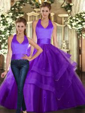 Glorious Purple Lace Up Quinceanera Dresses Ruffled Layers Sleeveless Floor Length