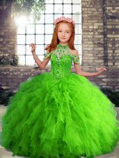 Enchanting Tulle Sleeveless Floor Length Little Girl Pageant Dress and Beading and Ruffles