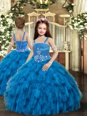 New Style Blue Straps Lace Up Beading Party Dress for Toddlers Sleeveless