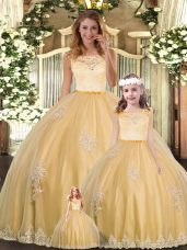 Charming Gold Ball Gowns Lace and Appliques Sweet 16 Dress Clasp Handle Tulle Sleeveless Floor Length