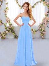 Fantastic Sleeveless Floor Length Ruching Lace Up Bridesmaid Dress with Aqua Blue