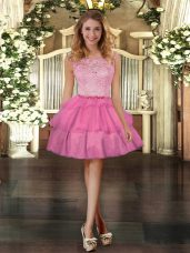 Rose Pink Ball Gowns Tulle Scoop Sleeveless Lace and Ruffled Layers Mini Length Zipper Cocktail Dress
