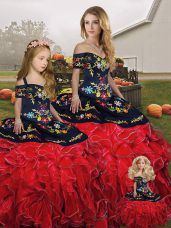 Most Popular Sleeveless Lace Up Floor Length Embroidery and Ruffles Sweet 16 Dresses