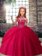 Beauteous Hot Pink Halter Top Neckline Beading Little Girls Pageant Gowns Sleeveless Lace Up