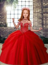 New Arrival Tulle Sleeveless Floor Length Pageant Gowns For Girls and Beading