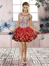 Red Prom Gown Prom and Party with Beading and Ruffled Layers Scoop Sleeveless Lace Up